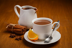 Hot chocolate with orange and spices Royalty Free Stock Photo