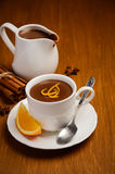 Hot chocolate with orange and spices Royalty Free Stock Image