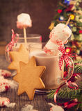 Hot chocolate with peppermint candies coated marshmallows Royalty Free Stock Images