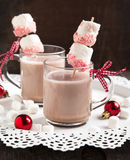Hot chocolate with peppermint candies coated marshmallows stock photo