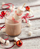 Hot chocolate with peppermint candies coated marshmallows Stock Image