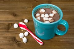 Hot chocolate with peppermint spoon Stock Photos