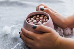 Hot chocolate in  pink ceramic mug with marshmallows. Hot chocolate  pink ceramic mug marshmallows and garland  gray knitted background Royalty Free Stock Photo