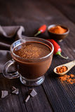 Hot chocolate with red chili pepper. Cup of hot chocolate flavored with chili pepper Stock Photography