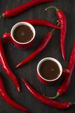 Hot chocolate with red chili peppers Stock Image