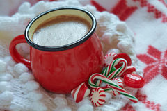 Hot chocolate  in a red mug Royalty Free Stock Image