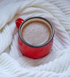 Hot chocolate  in a red mug Royalty Free Stock Photo