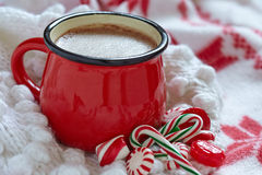 Hot chocolate  in a red mug Stock Images