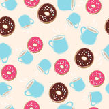 Hot chocolate and ring donuts seamless pattern Stock Image