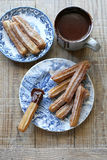 Hot chocolate sauce with churros Royalty Free Stock Image