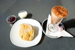 Hot Chocolate and Scone Stock Photo