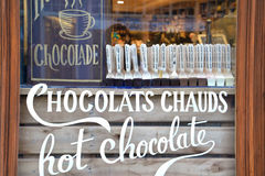 Hot chocolate shop in Bruges, Belgium Royalty Free Stock Photos