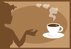 Hot Chocolate. Silhouette of a woman showing a cup of hot chocolate stock illustration