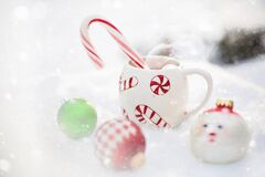 Hot Chocolate, Snow, Christmas, Hot Royalty Free Stock Photography