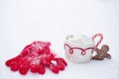 Hot Chocolate, Snow, Winter Royalty Free Stock Images