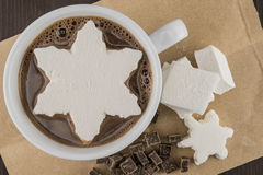 Hot Chocolate with Snowflake Marshmallow Tight Royalty Free Stock Photography