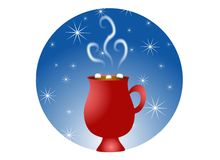 Hot Chocolate and Snowflakes. A clip art illustration of a cup of hot chocolate in red mug with marshmallows, set against snowflake background royalty free illustration