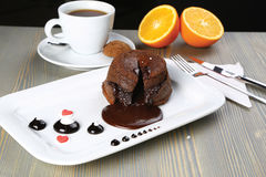 Hot Chocolate Souffle. With fluide Chocolate sauce Royalty Free Stock Photography