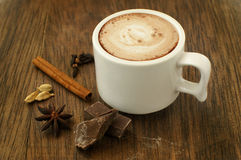 Hot chocolate and spices Stock Images
