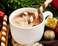 Hot Chocolate with Spiral Snack and Christmas Decoration Stock Images