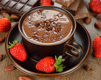 Hot chocolate and strawberry Royalty Free Stock Photography