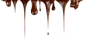 Hot chocolate streams dripping isolated Stock Photo