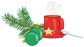 Hot chocolate time. Cup of hot chocolate on Christmas decor Royalty Free Stock Image