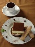 Hot chocolate and tiramisu. And thin captain royalty free stock photos