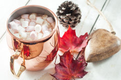 Hot chocolate. Topped with marshmallow and served in a shiny copper mug. On a white wooden table with autumn leaves, pine cone and wooden table decoration Royalty Free Stock Images