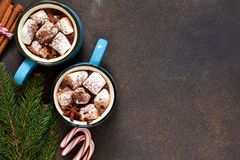 Hot chocolate is a traditional winter drink. Christmas background. Hot chocolate is a traditional winter drink. Christmas background stock photos