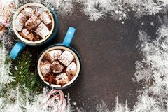 Hot chocolate is a traditional winter drink. Christmas background. royalty free stock image