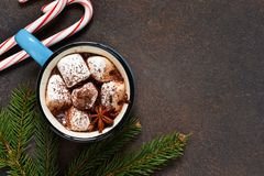 Hot chocolate is a traditional winter drink. Christmas background. stock photos