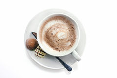 Hot chocolate and truffles Stock Photos