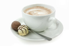 Hot chocolate and truffles Stock Images