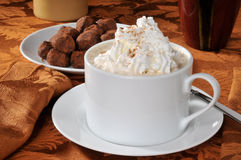 Hot chocolate and truffles Royalty Free Stock Photos