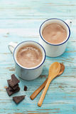 Hot Chocolate. Two cups of hot chocolate royalty free stock photos