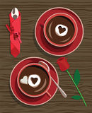 Hot chocolate. Two hot chocolate with flower for valentines day Royalty Free Stock Photography