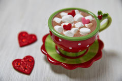 Hot chocolate for Valentine day Stock Images