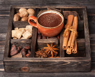 Hot chocolate and vintage wooden box Royalty Free Stock Photography