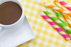 Hot chocolate with Wafer rolls Stock Photos