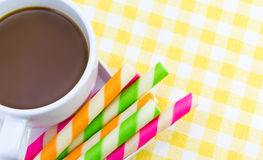 Hot chocolate with Wafer rolls Royalty Free Stock Images