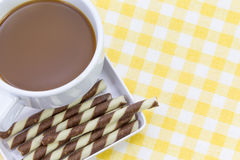 Hot chocolate with Wafer rolls Royalty Free Stock Image