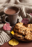 Hot chocolate warming drink cozy autumn leaves cookies royalty free stock photo