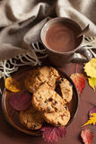 Hot chocolate warming drink cozy autumn leaves cookies stock images