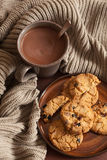 Hot chocolate warming drink wool throw cozy autumn cookies Royalty Free Stock Image