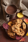 Hot chocolate warming drink wool throw cozy autumn leaves cookie. S royalty free stock image