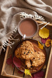 Hot chocolate warming drink wool throw cozy autumn leaves cookie. S stock photo