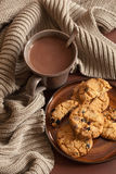 Hot chocolate warming drink wool throw cozy autumn leaves cookie stock images