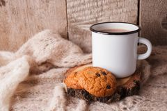 Hot chocolate warming drink wool throw cozy autumn winter cookies, christmas holiday background, copy space. Hot chocolate warming drink wool throw cozy autumn stock photo