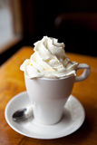 Hot chocolate with whipped cream Stock Image